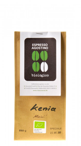 Espresso Agostino Cento per cento: Muiri Kenia bio 250g, DE-ÖKO-022-