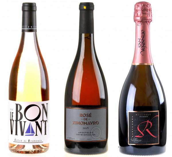 3er Weinpaket Drei Farben Pink zum vinocentral-Livestream: Rosé II