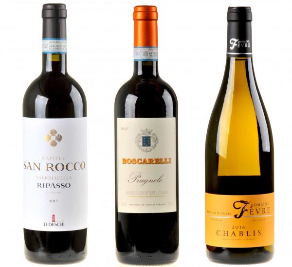 3er-Weinpaket Vorfreude zum vinocentral-Livestream 3 Gläser: Festtagswein